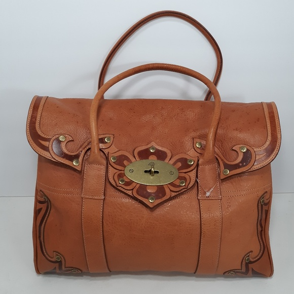 b55d60dd3978 MULBERRY Bayswater Darwin Tooled Oak Satchel Bag. M 5c199256c9bf50b0e9beb8c1